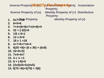 Number Properties:  Power Point Practice Quizzes