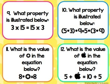 Number Properties Task Cards