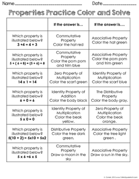 Number Properties Winter Color and Solve