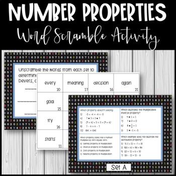 Number Properties - Word Scramble Activity