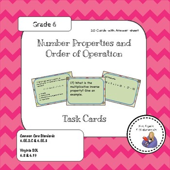 Number Properties and Order of Operation Task Cards