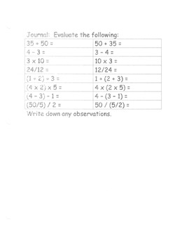 Number Properties lesson materials