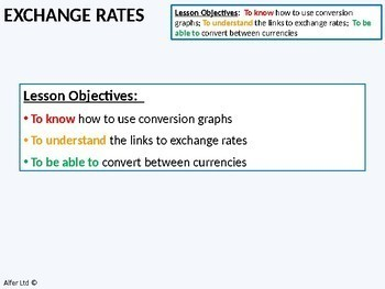 Proportion 1 - Exchange Rates and Conversion Graphs (+ worksheet)