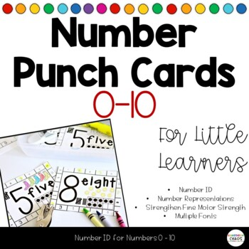 Number Punch Cards 0-10 Number Identification Fine Motor Practice Growing Bundle