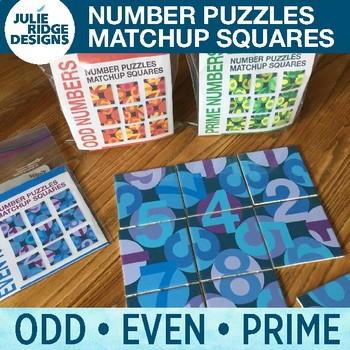 Number Puzzle Matchup Sets: Even, Odd and Prime Numbers