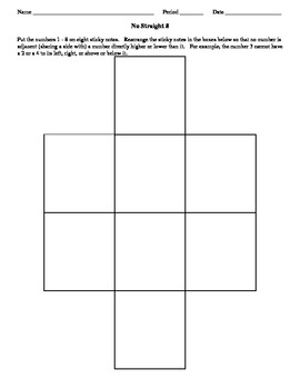 """Number Puzzle - """"No Straight 8"""" Quick Activity"""
