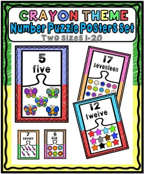 Number Puzzle Posters Set ~ 1 – 20 {Crayon Theme}
