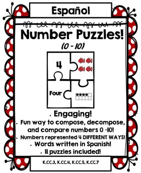 Number Puzzles: Compose and Decompose numbers 0 – 10 (SPANISH Version!)