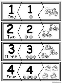 Number Puzzles 0-10 - Transportation Edition