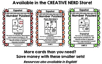 Number Puzzles: Compose and Decompose numbers 0 – 20 (SPANISH Version!)