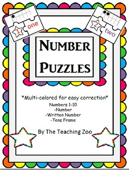 3 Piece Number Puzzles with 10s frames {Freebie!}