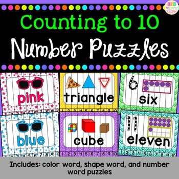 Number Puzzles 1-10: Color Words, Shape Words, and Number Words
