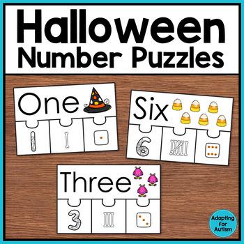 Number Puzzles: 1-10 FREEBIE (Halloween Theme)