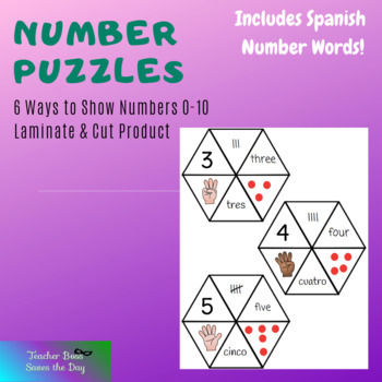 Number Puzzles (#1-10) Featuring Spanish Numbers