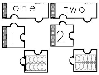 Number Puzzles 1-10 (Number Word, Number, Blank Ten Frames)