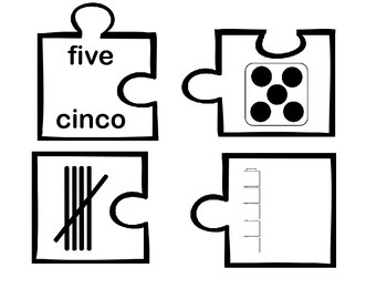 Number Puzzles 1-10 Spanish and English