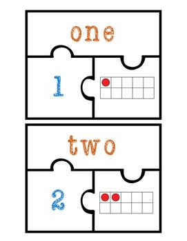 Number Puzzles 1-10: Word form, standard form, ten frames