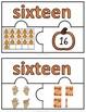 Number Puzzles 1 - 20 - Autumn Theme - 3 Puzzle Pieces