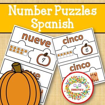 Number Puzzles 1 - 20 - Autumn Theme - Spanish - 3 Puzzle Pieces