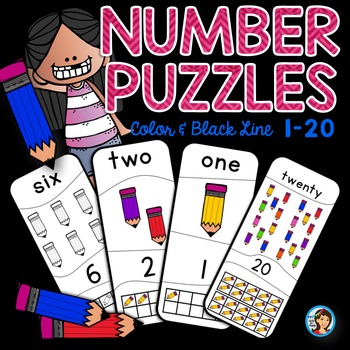 Number Puzzles (1-20) Back to School Pencils
