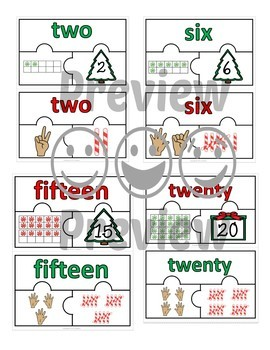 Number Puzzles 1 - 20 - Christmas Theme - 3 Puzzle Pieces