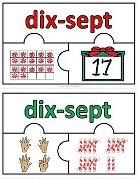 Number Puzzles 1 - 20 - Christmas Theme - 3 Puzzle Pieces - French - Les Nombres
