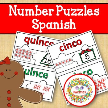Number Puzzles 1 - 20 - Christmas Theme - 3 Puzzle Pieces - Spanish