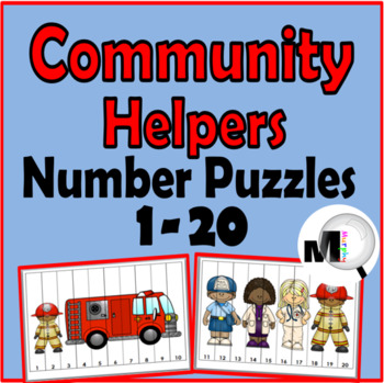 Number Puzzles 1-20 - Community Helpers Math