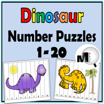 Number Puzzles ~ Numbers 1-20 Dinosaur Theme