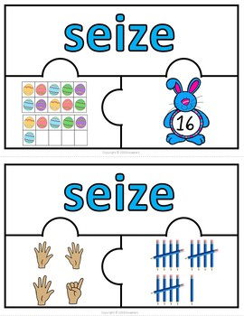 Number Puzzles 1 - 20 - Easter Theme - 3 Puzzle Pieces - French