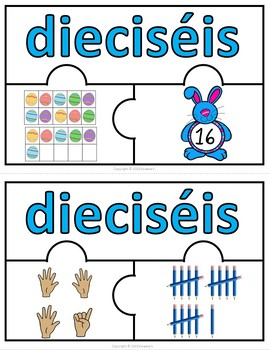 Number Puzzles 1 - 20 - Easter Theme - 3 Puzzle Pieces - Spanish