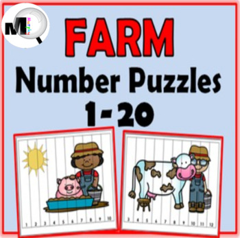 Number Puzzles ~ Numbers 1-20 Farm Theme - Farm Animals -