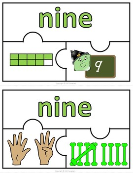 Number Puzzles 1 - 20 - Halloween Theme - 3 Puzzle Pieces