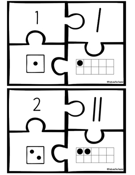 Number Puzzles 1-20 {Number, Tallies, Dice, Ten Frame}