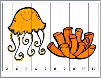 Number Puzzles 1-20 - Ocean Animals Math