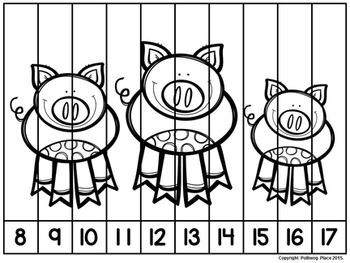 Number Puzzles: Counting 1-20 - On the Farm
