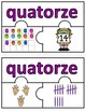 Number Puzzles 1 - 20 - Summer - 3 Puzzle Pieces - French