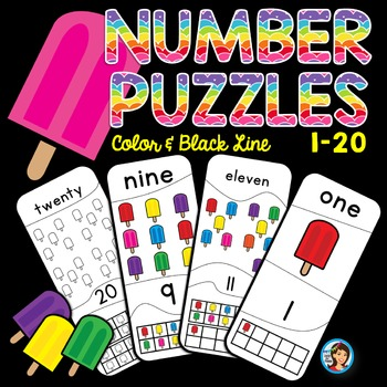 Number Puzzles 1 - 20 Summer Popsicles