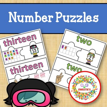 Number Puzzles 1 - 20 - Summer - 3 Puzzle Pieces