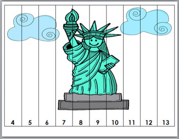 Flag Day - Number Puzzles 1-20 - U S Monuments, Symbols & Buildings