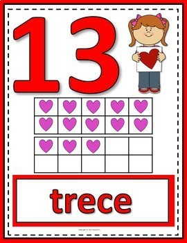 Number Anchor Charts 0 to 20 with Ten Frames - Valentines - Spanish -Los Números