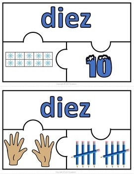 Number Puzzles 1 - 20 - Winter Theme - 3 Puzzle Pieces - Spanish