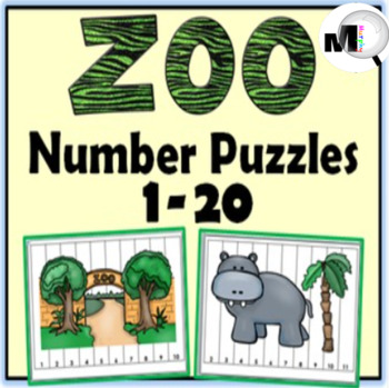 Number Puzzles ~ Numbers 1-20 ~ Zoo Theme - Numbers to 20