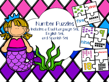 Number Puzzles 1-20 in English and Spanish