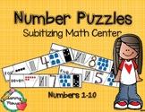 Number Puzzles 1 to 10  Subitizing Math Center