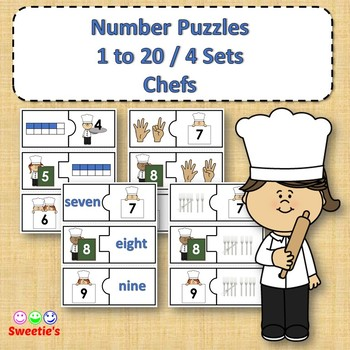 Number Puzzles 1 to 20 - Chef Theme - 2 Pieces Per Puzzle
