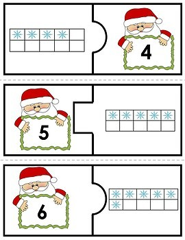 Number Puzzles 1 to 20 - Christmas - 2 Pieces Per Puzzle - French - Les Nombres