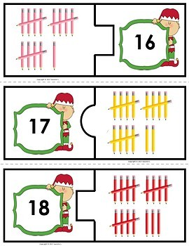 Number Puzzles 1 to 20 - Christmas - 2 Pieces Per Puzzle - Spanish - Los Números