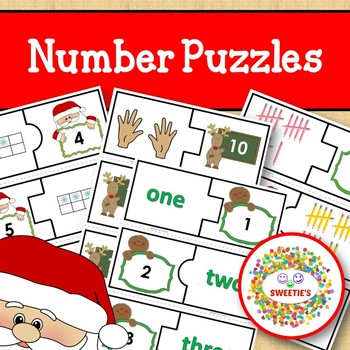Number Puzzles 1 to 20 - Christmas Theme - 2 Pieces Per Puzzle