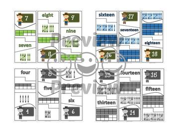 Number Puzzles 1 to 20 - Cowboy Theme - 4 Pieces Per Puzzle